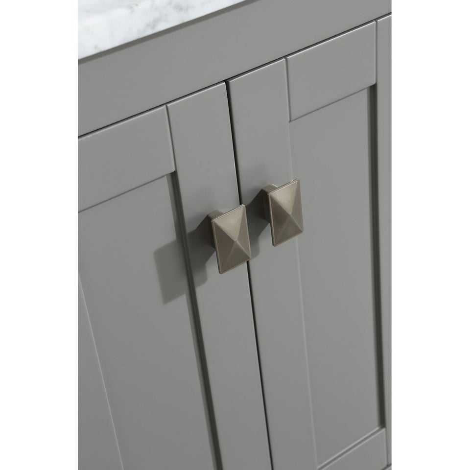 "Eviva London 30 x 18"" Gray Transitional Bathroom Vanity with White Carrara Marble Countertop and Undermount Porcelain Sink Eviva Vanities"