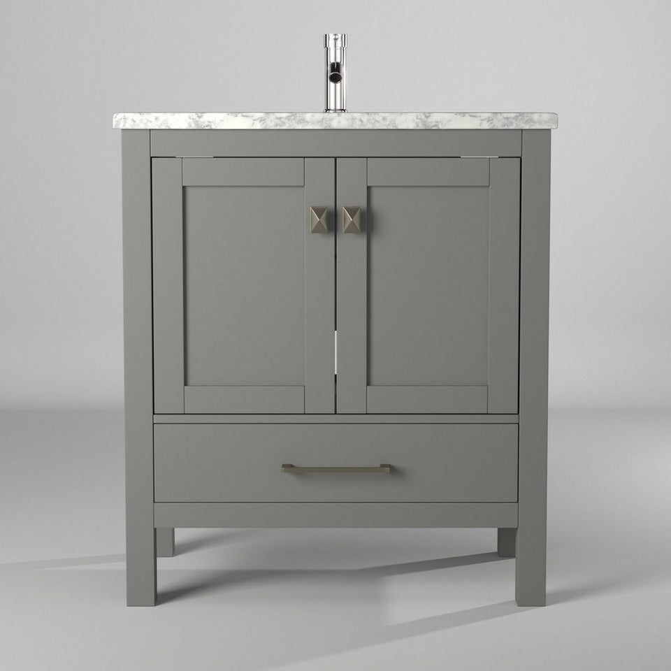"Eviva London 30 x 18"" Gray Transitional Bathroom Vanity with White Carrara Marble Countertop and Undermount Porcelain Sink Eviva Vanities Gray"