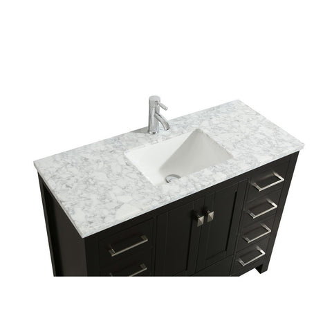 "Eviva London 36 x 18"" Transitional Bathroom Vanity with White Carrara Marble Countertop and Undermount Porcelain Sink Eviva Vanities Espresso"