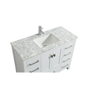 "Eviva London 42 x 18"" Transitional Bathroom Vanity with White Carrara Marble Countertop and Undermount Porcelain Sink Eviva Vanities"