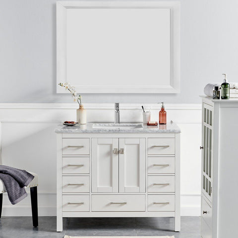 "Eviva London 42 x 18"" Transitional Bathroom Vanity with White Carrara Marble Countertop and Undermount Porcelain Sink Eviva Vanities White"