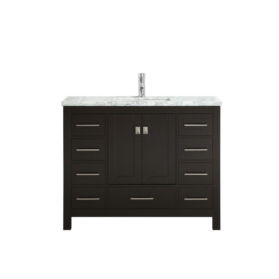 "Eviva London 42 x 18"" Transitional Bathroom Vanity with White Carrara Marble Countertop and Undermount Porcelain Sink Eviva Vanities Espresso"