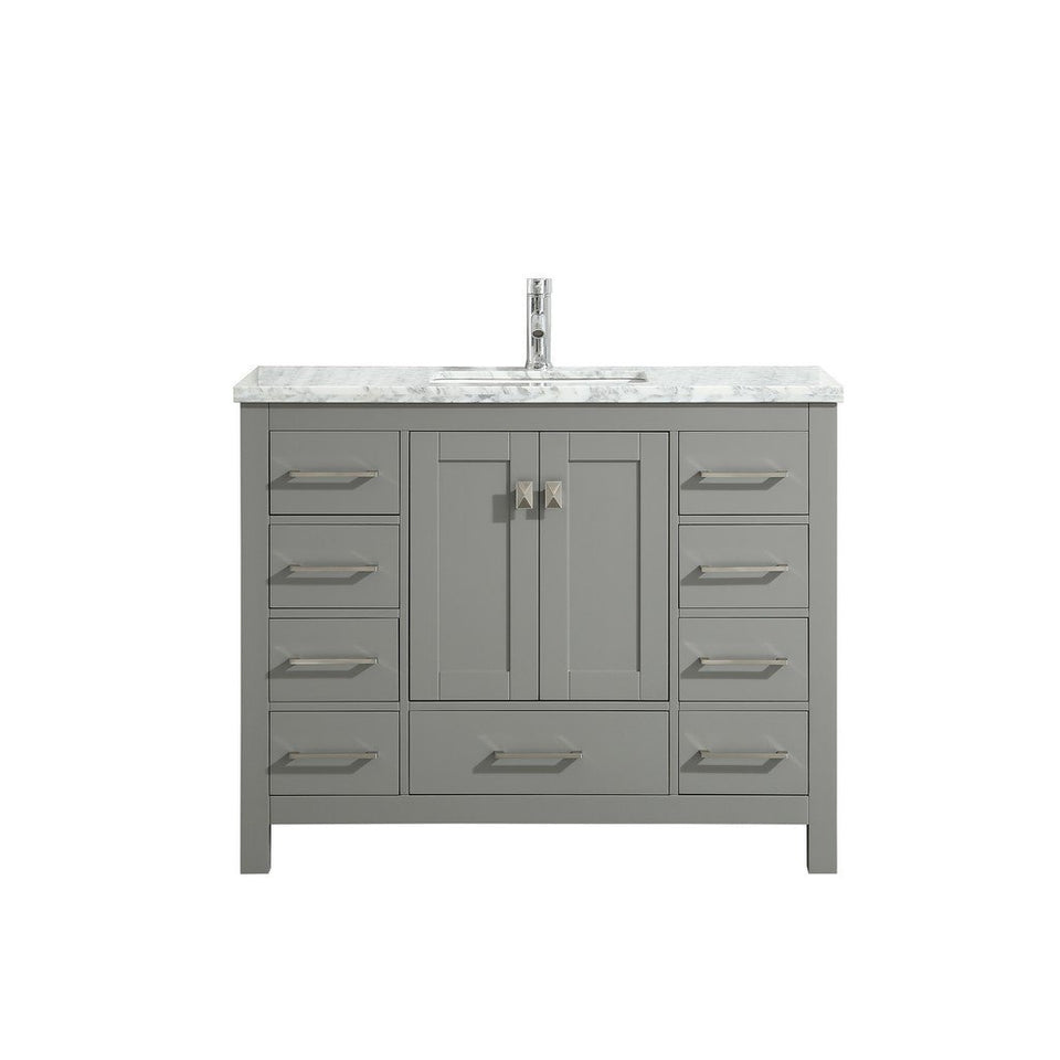 "Eviva London 42 x 18"" Transitional Bathroom Vanity with White Carrara Marble Countertop and Undermount Porcelain Sink Eviva Vanities Gray"
