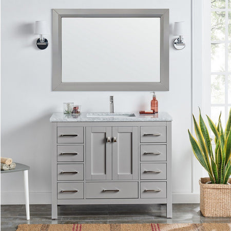 "Eviva London 48 x 18"" Transitional Bathroom Vanity with White Carrara Marble Countertop and Undermount Porcelain Sink Eviva Vanities"
