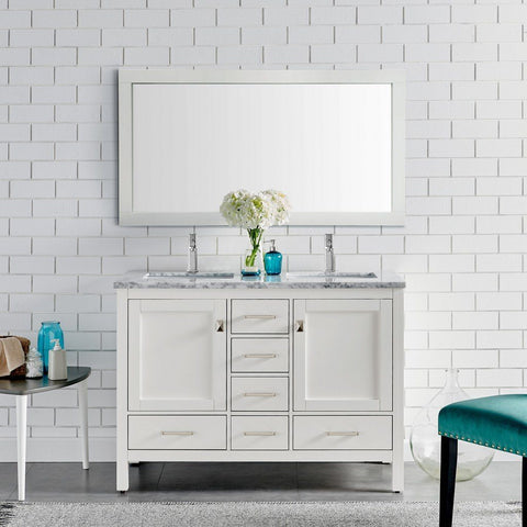 "Eviva London 48 x 18"" Transitional Double Sink Bathroom Vanity with White Carrara Marble Countertop and Undermount Porcelain Sinks Eviva Vanities White"