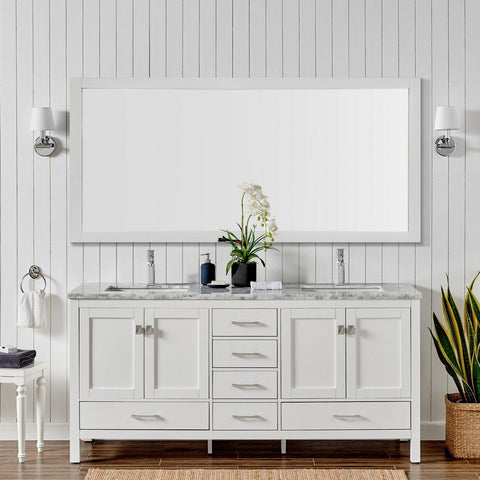 "Eviva London 60 x 18"" Transitional Double Sink Bathroom Vanity with White Carrara Marble Countertop and Undermount Porcelain Sinks Eviva Vanities White"