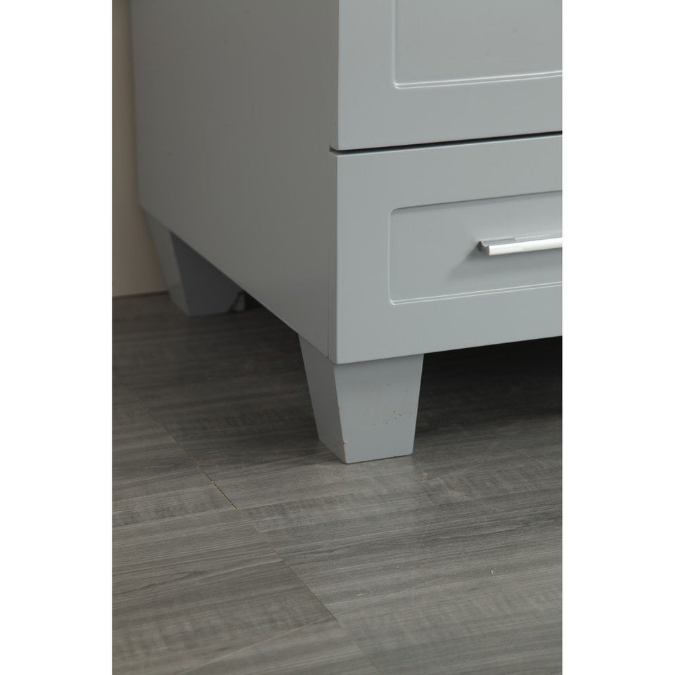 "Eviva Loon 30"" Transitional Bathroom Vanity with White Carrara Marble Countertop and Long Handles Eviva Vanities"