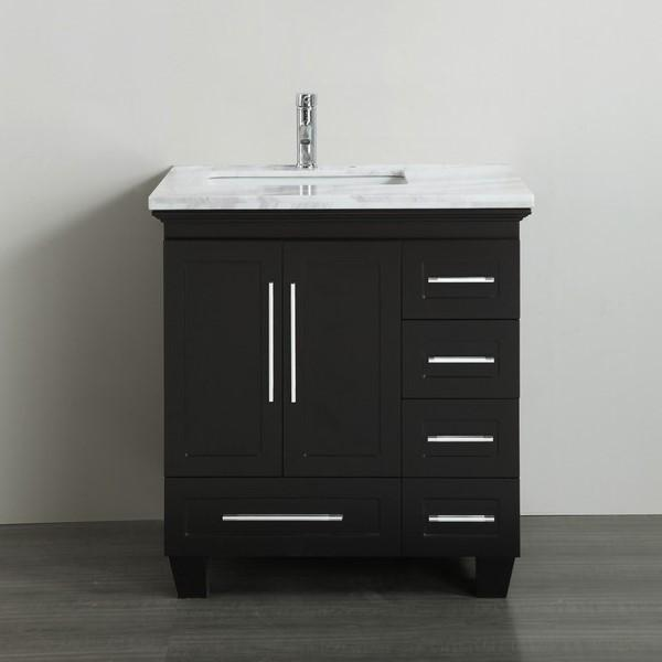 "Eviva Loon 30"" Transitional Bathroom Vanity with White Carrara Marble Countertop and Long Handles Eviva Vanities Espresso"