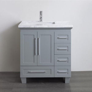 "Eviva Loon 30"" Transitional Bathroom Vanity with White Carrara Marble Countertop and Long Handles Eviva Vanities Gray"
