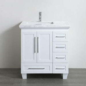 "Eviva Loon 30"" Transitional Bathroom Vanity with White Carrara Marble Countertop and Long Handles Eviva Vanities White"