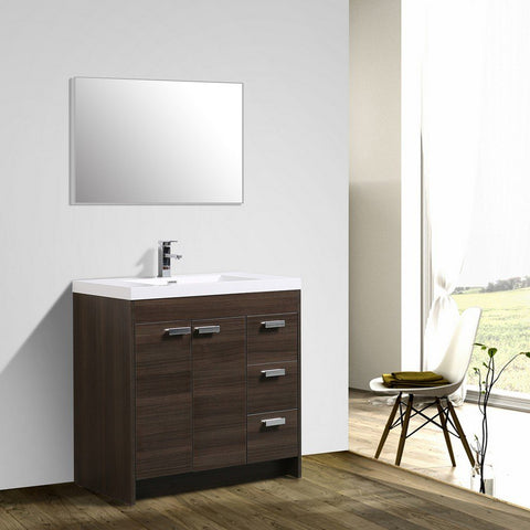 "Eviva Lugano 36"" Modern Bathroom Vanity with White Integrated Acrylic Top Eviva Vanities Gray Oak"