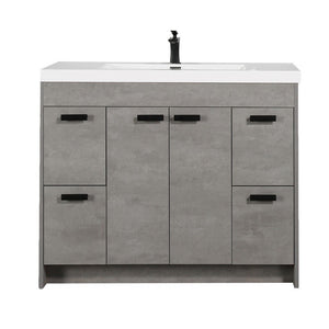 "Eviva Lugano 42"" Modern Bathroom Vanity with White Integrated Acrylic Top Eviva Vanities Cement Gray"