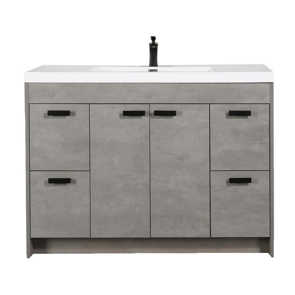 "Eviva Lugano 48"" Modern Bathroom Vanity with White Integrated Acrylic Top Eviva Vanities Cement Gray"