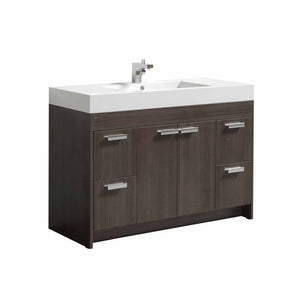 "Eviva Lugano 48"" Modern Bathroom Vanity with White Integrated Acrylic Top Eviva Vanities Gray Oak"