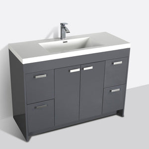"Eviva Lugano 48"" Modern Bathroom Vanity with White Integrated Acrylic Top Eviva Vanities Gray"