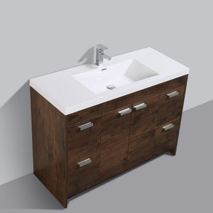 "Eviva Lugano 48"" Modern Bathroom Vanity with White Integrated Acrylic Top Eviva Vanities Rosewood"
