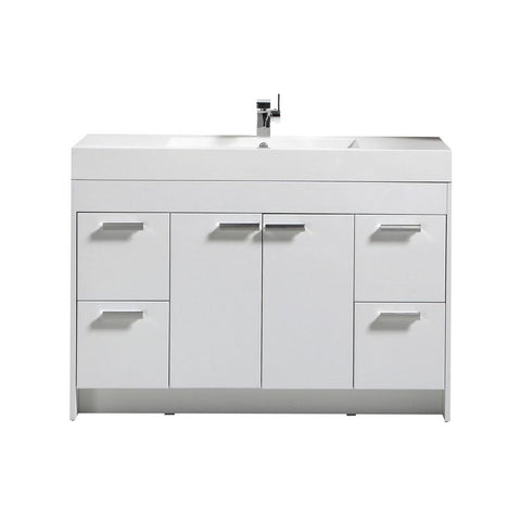 "Eviva Lugano 48"" Modern Bathroom Vanity with White Integrated Acrylic Top Eviva Vanities White"