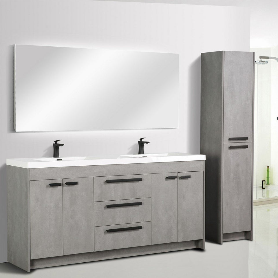 "Eviva Lugano 72"" Modern Double Sink Bathroom Vanity with White Integrated Acrylic Top Eviva Vanities"