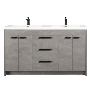 "Eviva Lugano 72"" Modern Double Sink Bathroom Vanity with White Integrated Acrylic Top Eviva Vanities Cement Gray"