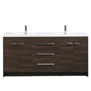 "Eviva Lugano 72"" Modern Double Sink Bathroom Vanity with White Integrated Acrylic Top Eviva Vanities Gray Oak"