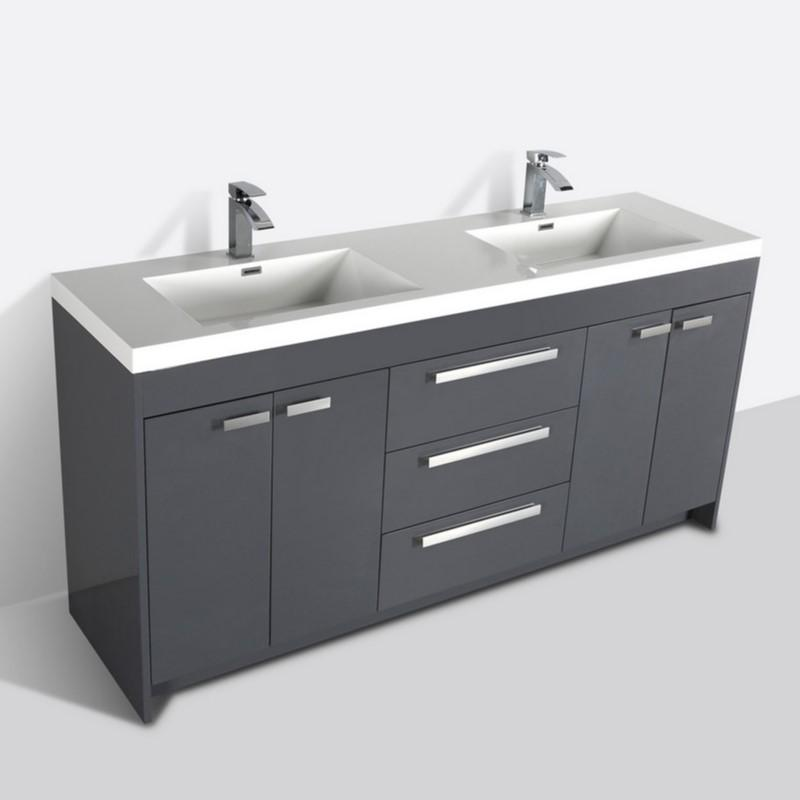 "Eviva Lugano 72"" Modern Double Sink Bathroom Vanity with White Integrated Acrylic Top Eviva Vanities Gray"