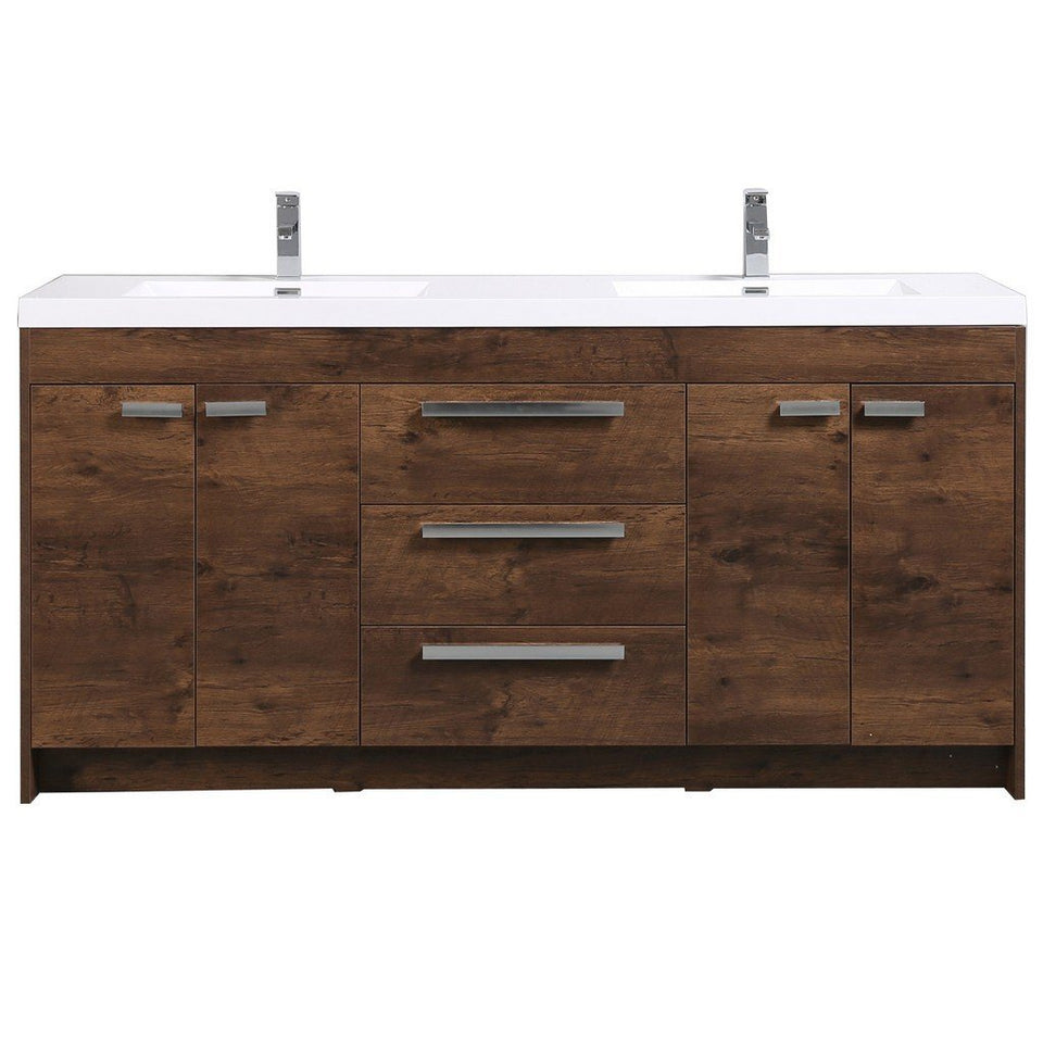 "Eviva Lugano 72"" Modern Double Sink Bathroom Vanity with White Integrated Acrylic Top Eviva Vanities Rosewood"