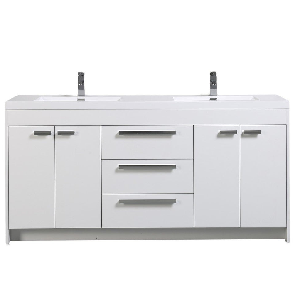 "Eviva Lugano 72"" Modern Double Sink Bathroom Vanity with White Integrated Acrylic Top Eviva Vanities White"