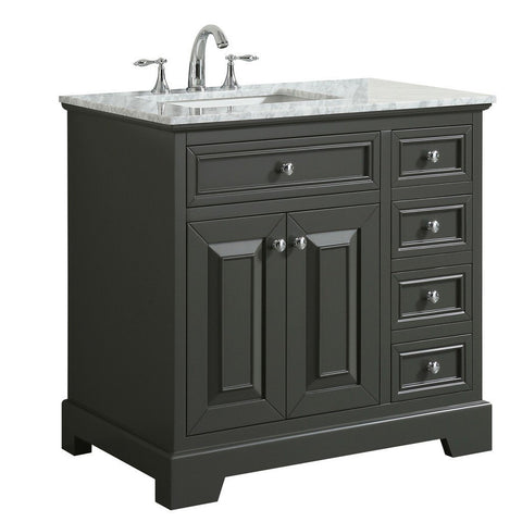 "Eviva Monroe 36"" Transitional Bathroom Vanity with White Carrara Countertop and Undermount Porcelain Sink Eviva Vanities Gray"