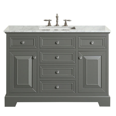 "Eviva Monroe 42"" Transitional Bathroom Vanity with White Carrara Countertop and Undermount Porcelain Sink Eviva Vanities Gray"