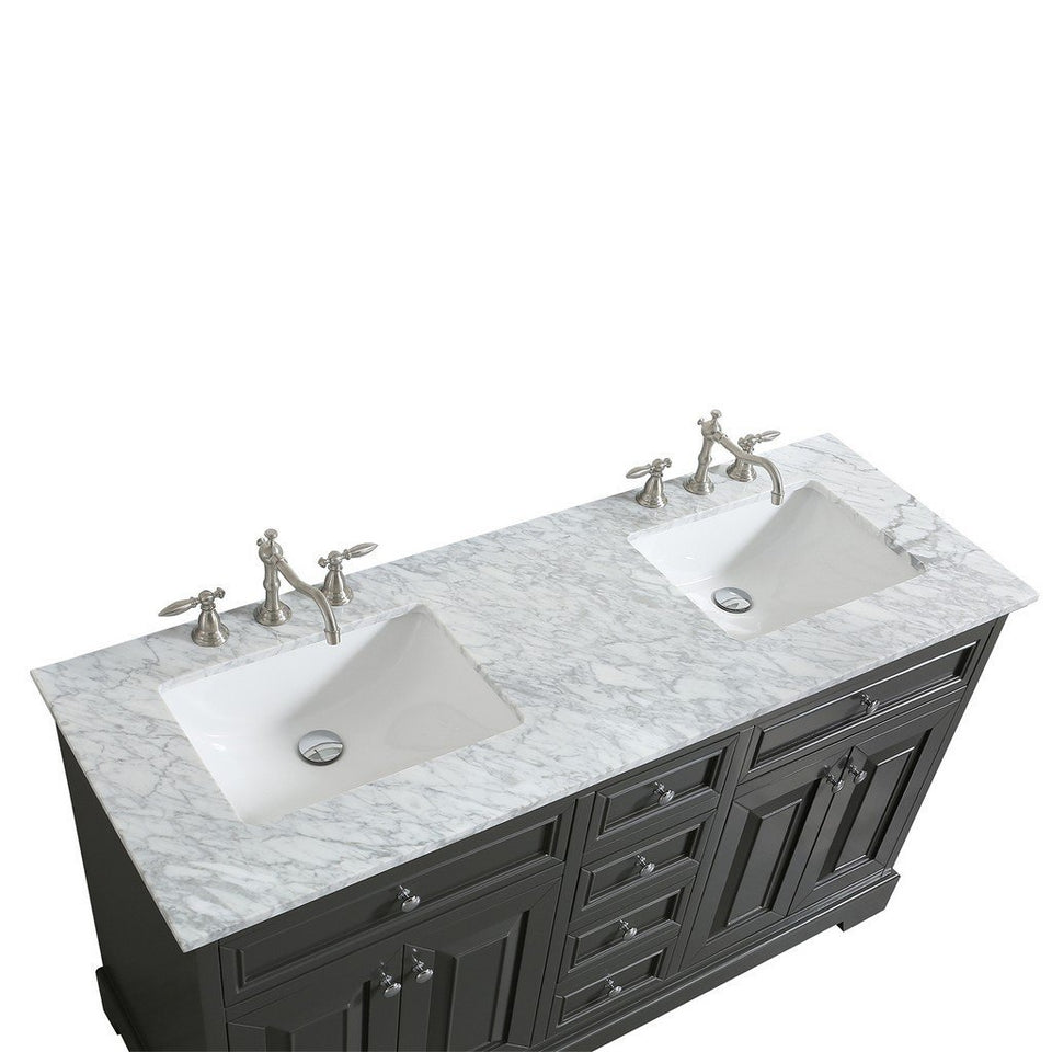 "Eviva Monroe 60"" Transitional Double Sink Bathroom Vanity with White Carrara Countertop and Undermount Porcelain Sinks Eviva Vanities"