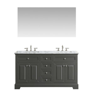 "Eviva Monroe 60"" Transitional Double Sink Bathroom Vanity with White Carrara Countertop and Undermount Porcelain Sinks Eviva Vanities Gray"