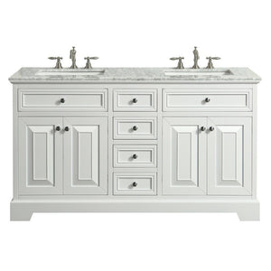"Eviva Monroe 60"" Transitional Double Sink Bathroom Vanity with White Carrara Countertop and Undermount Porcelain Sinks Eviva Vanities White"
