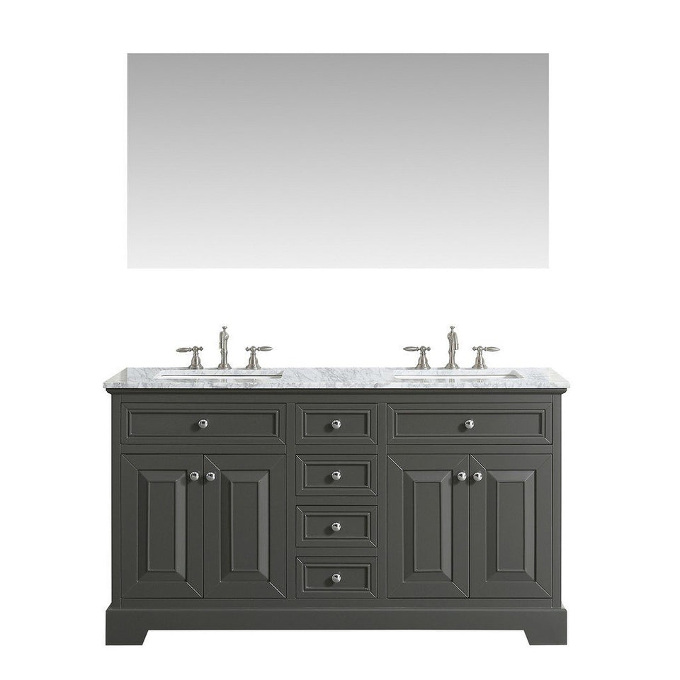 "Eviva Monroe 72"" Transitional Double Sink Bathroom Vanity with White Carrara Countertop and Undermount Porcelain Sinks Eviva Vanities Gray"