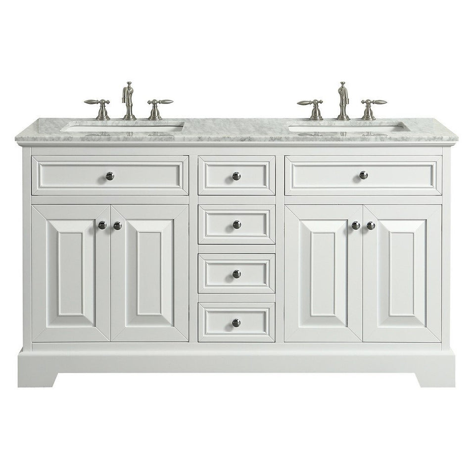 "Eviva Monroe 72"" Transitional Double Sink Bathroom Vanity with White Carrara Countertop and Undermount Porcelain Sinks Eviva Vanities White"