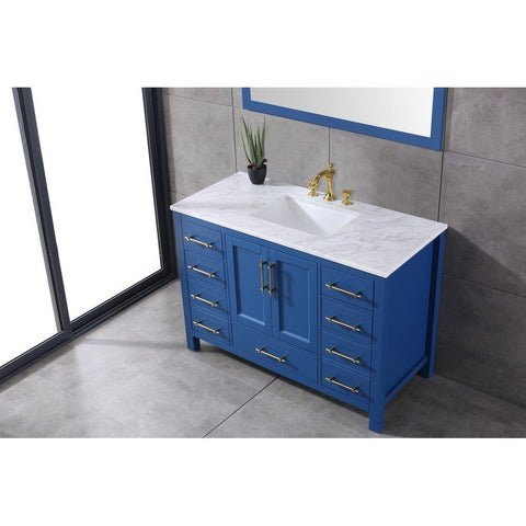 "Eviva Navy 48"" Deep Blue Transitional Bathroom Vanity with White Carrara Marble Countertop and Undermount Porcelain Sink Eviva Vanities Deep Blue"