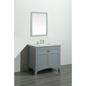 "Eviva New York 30"" Bathroom Vanity with White Carrara Countertop and Undermount Porcelain Sink Eviva Vanities Gray"