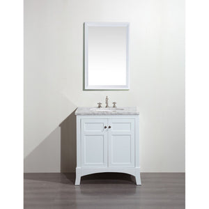 "Eviva New York 30"" Bathroom Vanity with White Carrara Countertop and Undermount Porcelain Sink Eviva Vanities White"