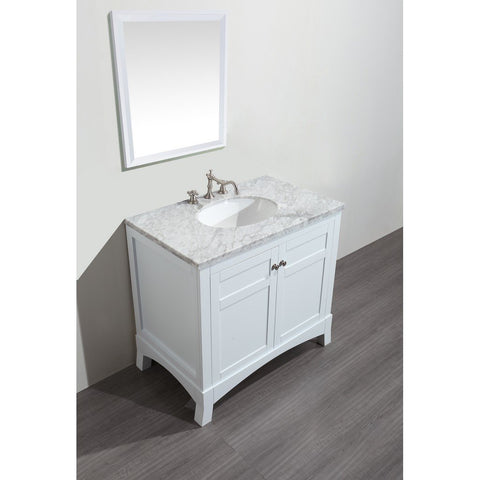 "Eviva New York 36"" Bathroom Vanity with White Carrara Countertop and Undermount Porcelain Sink Eviva Vanities White"