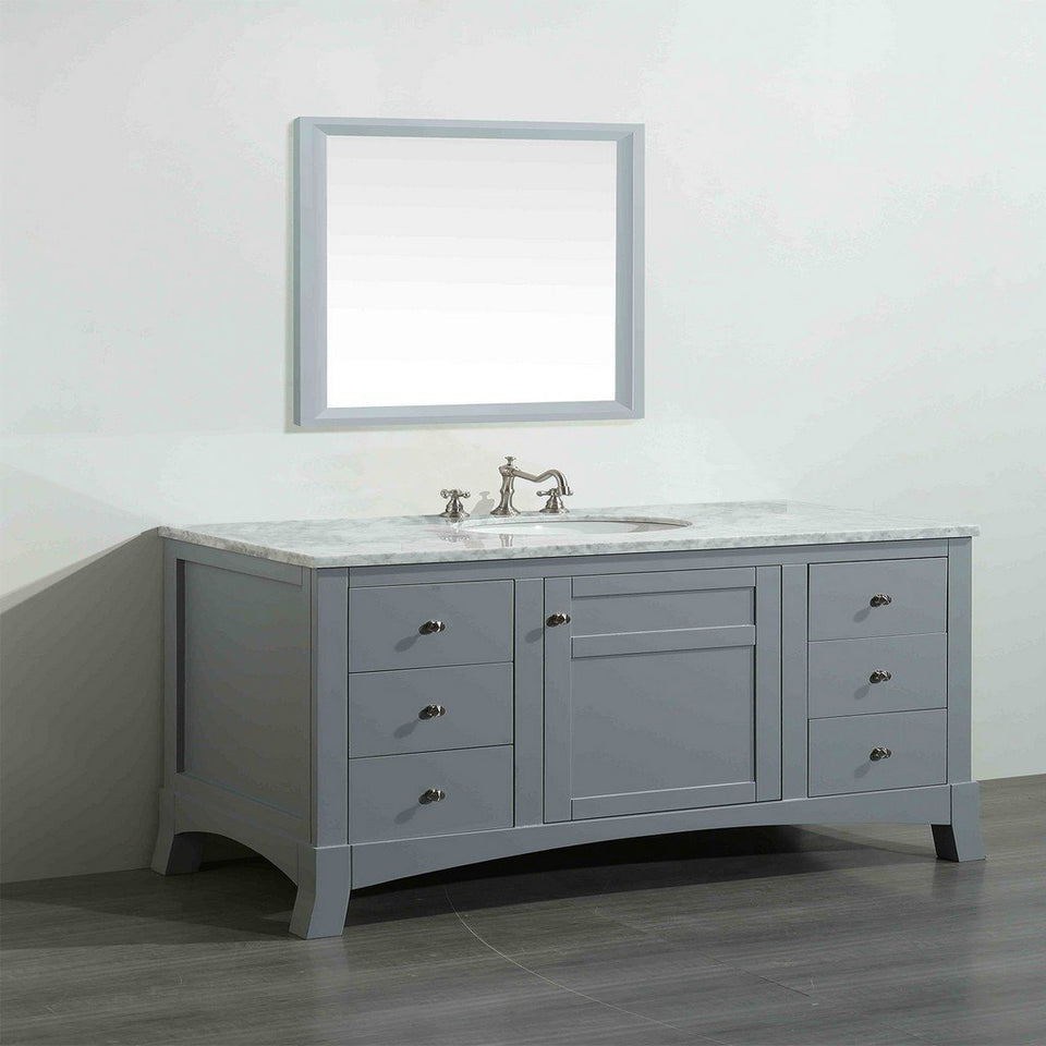 "Eviva New York 48"" Bathroom Vanity with White Carrara Countertop and Undermount Porcelain Sink Eviva Vanities"