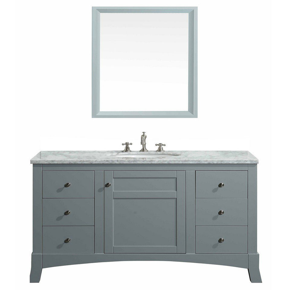 "Eviva New York 48"" Bathroom Vanity with White Carrara Countertop and Undermount Porcelain Sink Eviva Vanities Gray"