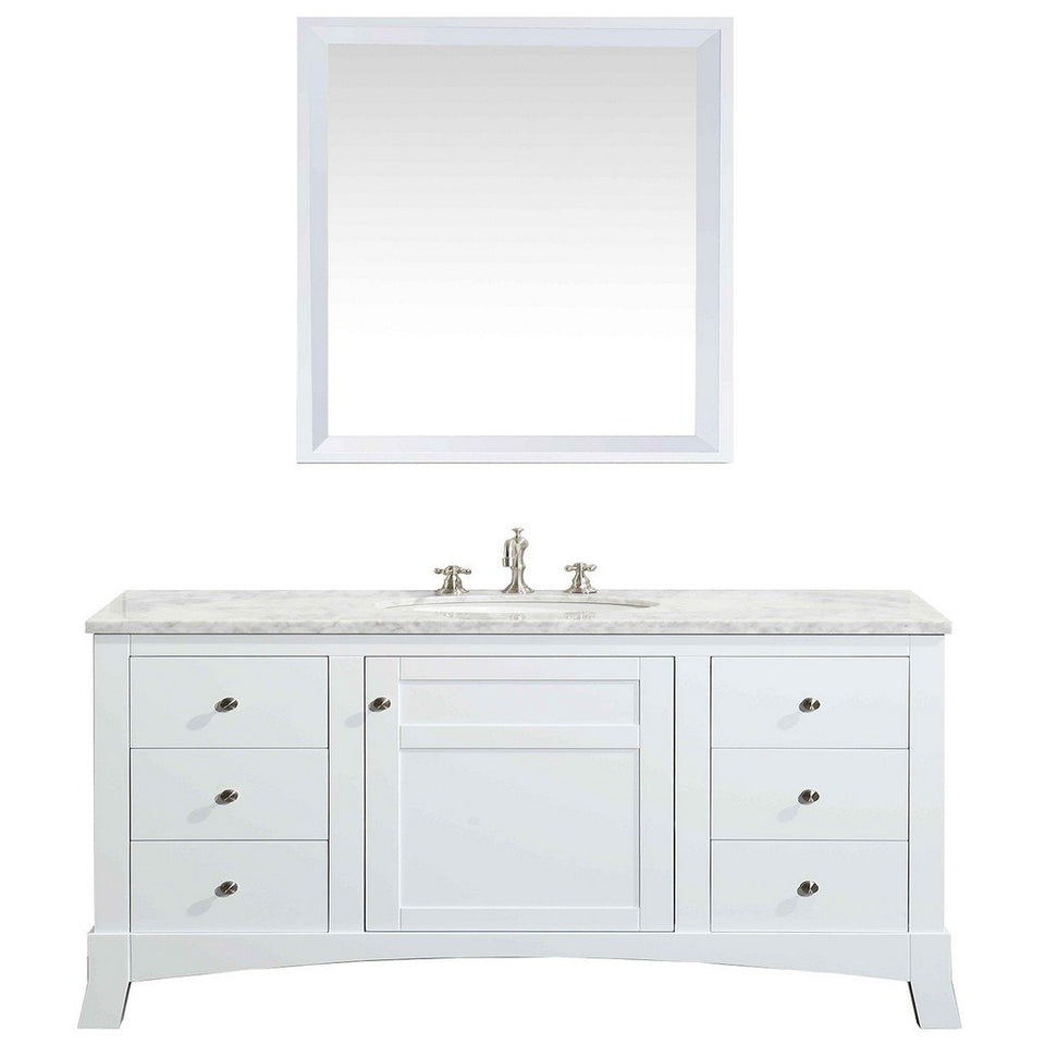 "Eviva New York 48"" Bathroom Vanity with White Carrara Countertop and Undermount Porcelain Sink Eviva Vanities White"