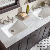 "Eviva Preston 61"" Aged Chocolate Traditional Double Sink Bathroom Vanity with White Carrara Marble Countertop and Undermount Porcelain Sinks Eviva Vanities"