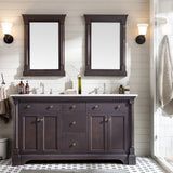"Eviva Preston 61"" Aged Chocolate Traditional Double Sink Bathroom Vanity with White Carrara Marble Countertop and Undermount Porcelain Sinks Eviva Vanities Aged Chocolate"