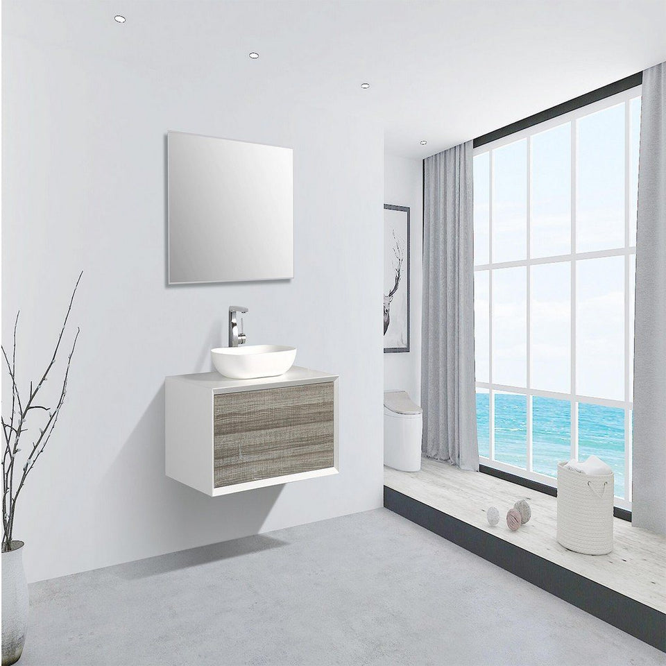 "Eviva Santa Monica 36"" Wall Mount Bathroom Vanity with Solid Surface Vessel Sink Eviva Vanities Ash"