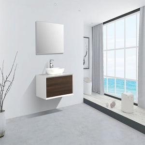 "Eviva Santa Monica 36"" Wall Mount Bathroom Vanity with Solid Surface Vessel Sink Eviva Vanities Gray Oak"