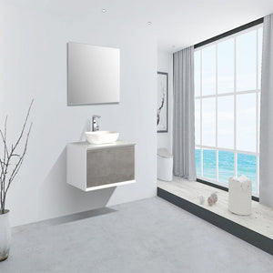 "Eviva Santa Monica 36"" Wall Mount Bathroom Vanity with Solid Surface Vessel Sink Eviva Vanities Gray"