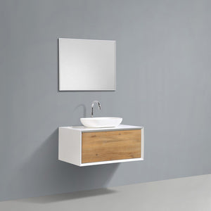 "Eviva Santa Monica 36"" Wall Mount Bathroom Vanity with Solid Surface Vessel Sink Eviva Vanities Matte White"