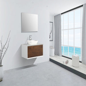 "Eviva Santa Monica 36"" Wall Mount Bathroom Vanity with Solid Surface Vessel Sink Eviva Vanities Rosewood"