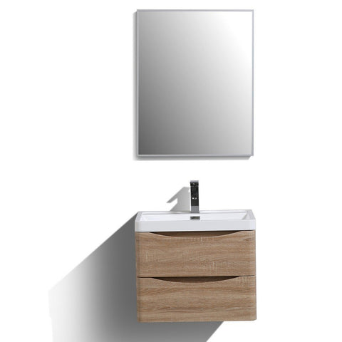 "Eviva Smile 24"" Wall Mount Modern Bathroom Vanity with White Integrated Acrylic Top Eviva Vanities White Oak"
