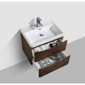 "Eviva Smile 28"" Rosewood Wall Mount Modern Bathroom Vanity with White Integrated Acrylic Top Eviva Vanities"